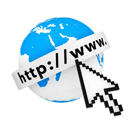 Earth Globe with Internet Address Text and Pixel Cursor on a white background. 3d Rendering. Stock Photo