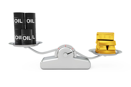 barel: Black Oil Barrels with Golden Bars Balancing on a Simple Weighting Scale on a white background. 3d Rendering. Stock Photo