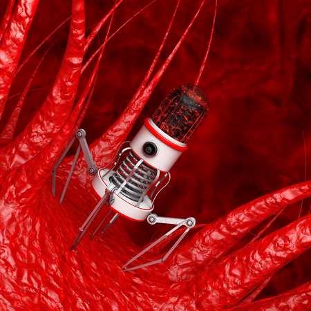 Blood Nano Robot with Camera, Claws and Needle over Virus, Bacteria, Microbe extreme closeup. 3d Rendering.