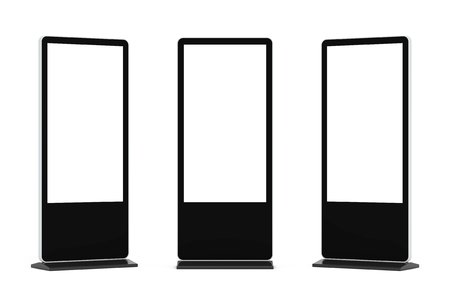lcd: Blank Trade Show LCD Screen Stand as Template for Your Design on a white background. 3d Rendering.