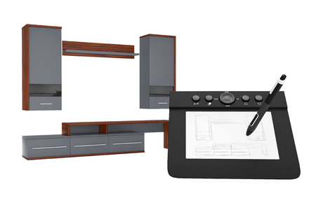 architect drawing: From Sketches Hand Drawing Idea to Modern Living Room Wall Unit on a white background. 3d Rendering.