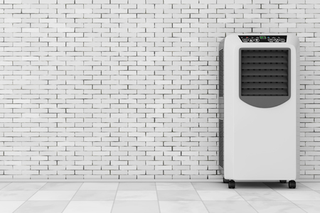 Portable Mobile Room Air Conditioner in front of brick wall. 3d Rendering. Banco de Imagens