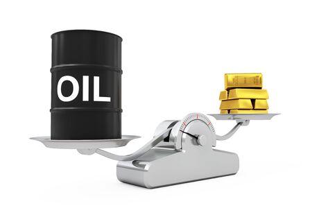 Barril de petróleo negro con barras doradas de equilibrio en una escala de ponderación simple sobre un fondo blanco. Representación 3D.