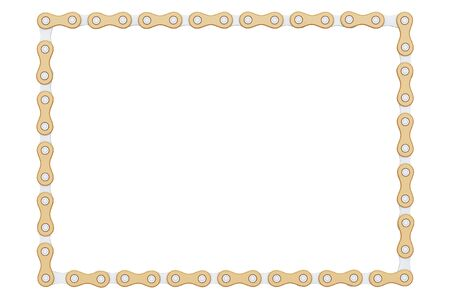 alloy: Bicycle Chain as Frames on a white background. 3d Rendering.