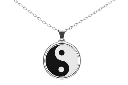 coulomb: Yin Yang Symbol of Harmony and Balance Silver Coulomb on a white background. 3d Rendering. Stock Photo