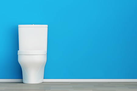 White Ceramic Toilet Bowl in front of Blue Wall. 3d Rendering. Фото со стока