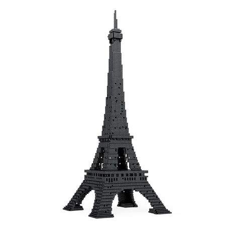 french culture: Eiffel Tower in Pixel Art Style on a white background. 3d Rendering.