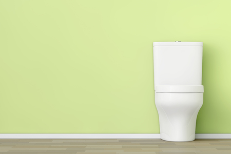 empty the bowel: White Ceramic Toilet Bowl in front of Olive Wall. 3d Rendering.