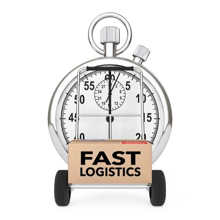 Logistic Concept. Stopwatch near Box with Fast Logistics Sign over Cart on a white background. 3d Rendering. Фото со стока