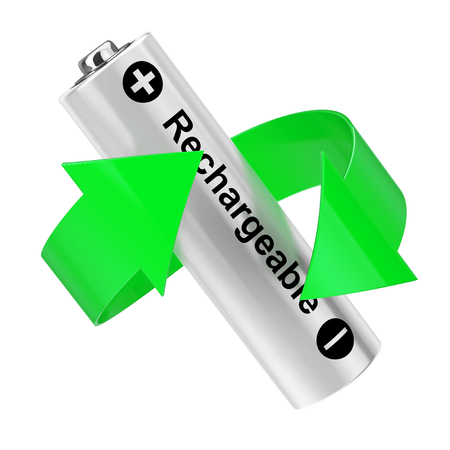 Battery Recycling Concept. Green Arrow Around Rechargeable Battery on a white background. 3d Rendering.
