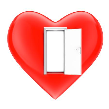 Concept à coeur ouvert. Coeur avec porte ouverte sur fond blanc. Rendu 3d. Banque d'images - 76770238