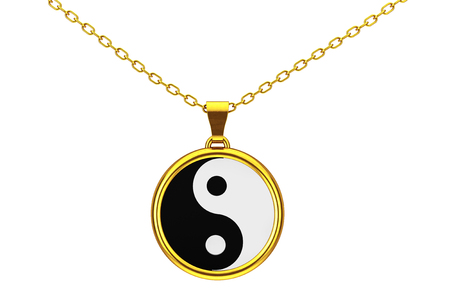 Yin Yang Symbol of Harmony and Balance Golden Coulomb on a white background. 3d Rendering.