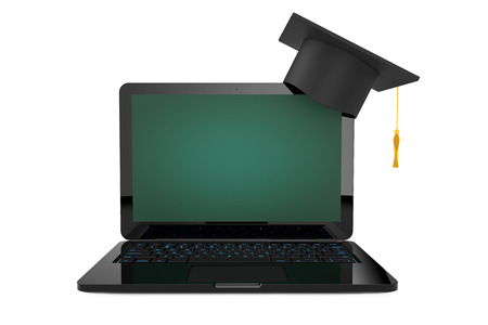 Online Education Concept. Graduation Hat over Laptop with Blackboard Screen on a white background. 3d Rendering.
