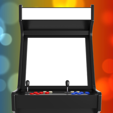Gaming Arcade Machine with Blank Screen for Your Design extreme closeup. 3d Rendering.
