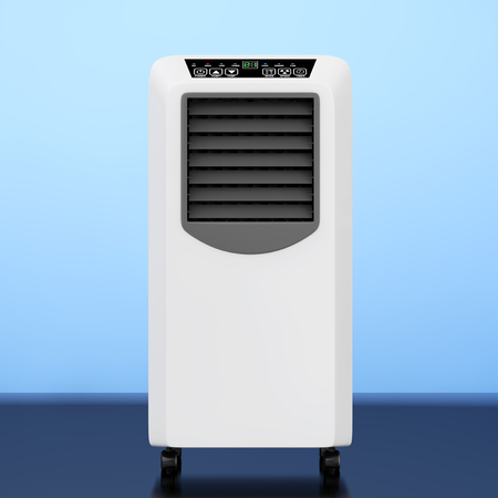 Portable Mobile Room Air Conditioner on a blue background. 3d Rendering.