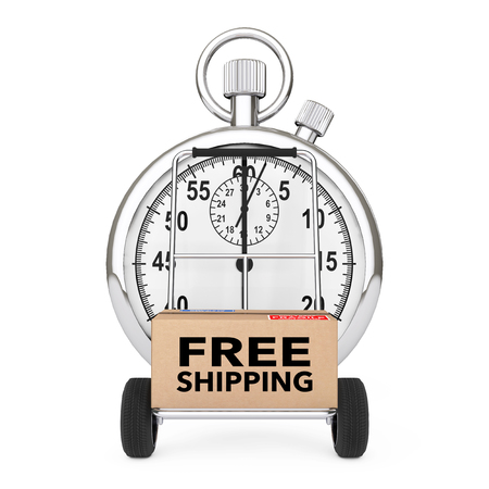 Logistic Concept. Stopwatch near Box with Free Shipping Sign over Cart on a white background. 3d Rendering. Фото со стока