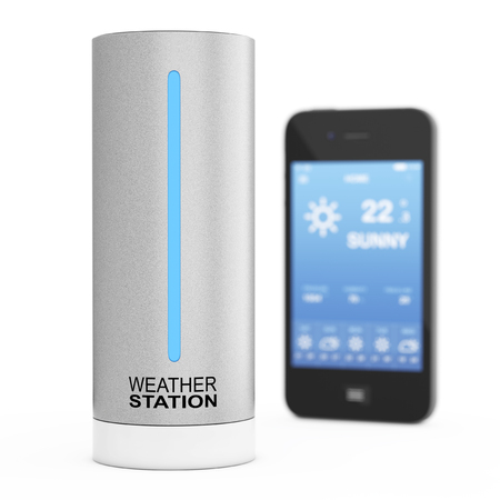 meteorological: Modern Digital Wireless Home Weather Station with Mobile Phone with Weather on Screen on a white background. 3d Rendering.