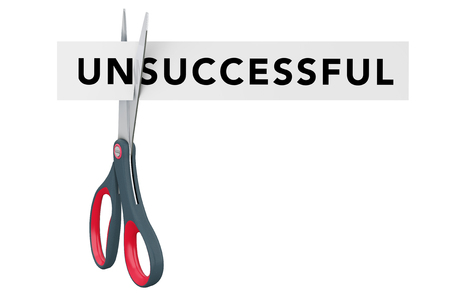 Cutting Unsuccessful to Successful Paper Sign with Scissors on a white background. 3d Rendering. Imagens - 79086430