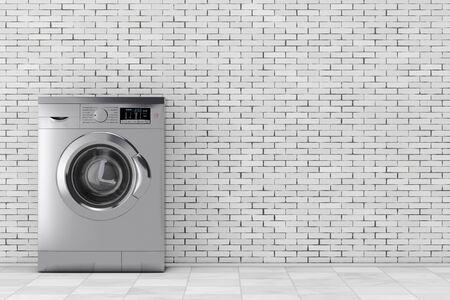 metalic: Modern Metalic Washing Machine in front of brick wall. 3d Rendering.