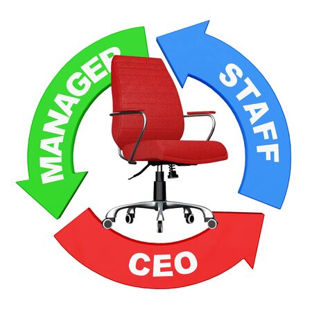Career from Staff to CEO Concept. Arrows with Staff, Manager and CEO Sign around Red Leather Boss Office Chair on a white background. 3d Rendering.