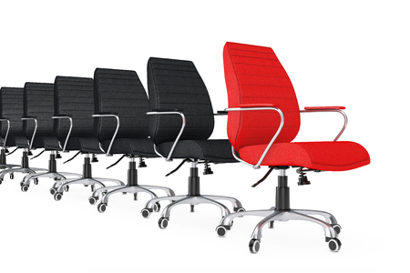 director chair: Red Leather Boss Office Chair as Leader in row of Black Chairs on a white backgroundl. 3d Rendering.