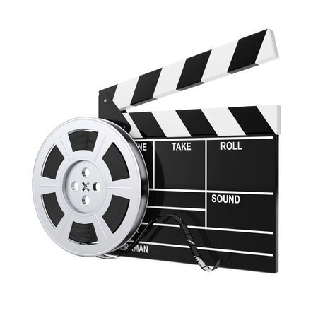 Film Reel with Cinema Tape near Clapboard on a white background. 3d Rendering.