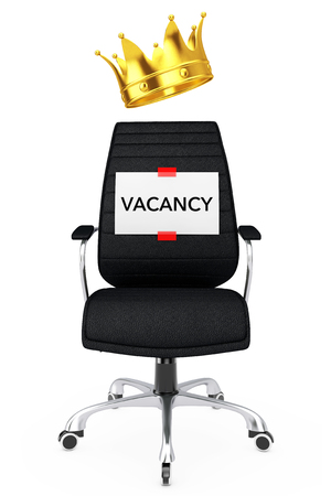 luxuriance: Paper Sheet with Vacancy Message over Black Leather Boss Office Chair with Golden Crown on a white backgroundl. 3d Rendering.