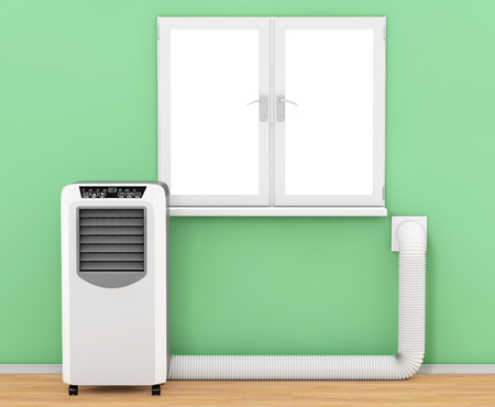 Portable Mobile Room Air Conditioner with Hose connected to Window in Room extreme closeup. 3d Rendering. Reklamní fotografie - 79086294