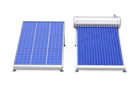 Zonne Waterverwarmer Met Zonnepaneel Op Een Witte Achtergrond. 3D-rendering. Stockfoto - 79063800