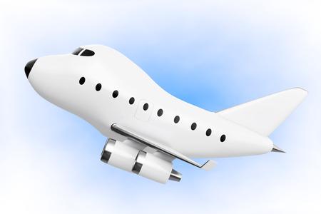 turbine engine: Cartoon Toy Jet Airplane on a blue background. 3d Rendering.