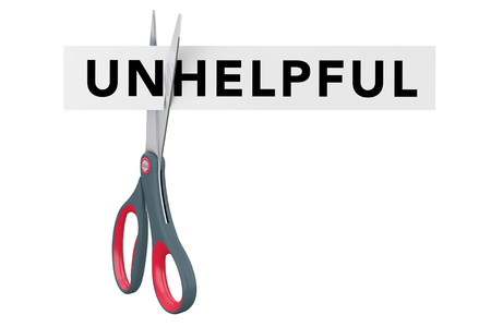Cutting Unhelpful to Helpful Paper Sign with Scissors on a white background. 3d Rendering. Stock Photo