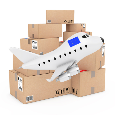 europian: Air Cargo Concept. Cartoon Toy Jet Airplane with Europian Union Flag near Boxes of Goods on a white background. 3d Rendering. Stock Photo