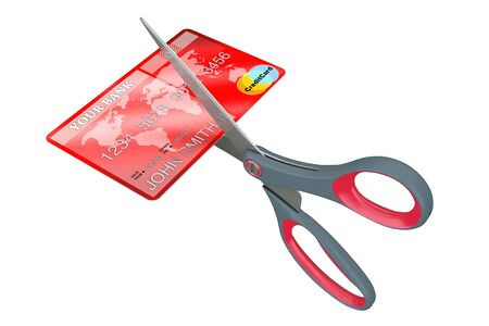 ciphers: Scissors Cutting Credit Card on a white background. 3d Rendering.