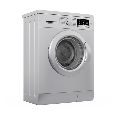 metalic: Modern Metalic Washing Machine on a white background. 3d Rendering. Stock Photo