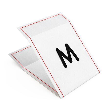 Fabric Dress Tag with Medium Size Sign on a white background. 3d Rendering.