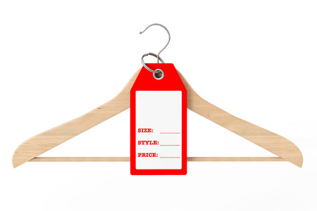 Wooden Clothes Hanger and Dress Tag with Size, Style and Price Sign with Blank Space for Your Text on a white background. 3d Rendering.