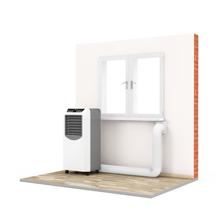 Portable Mobile Room Air Conditioner with Hose connected to Window in Room on a white background. 3d Rendering. Stock Photo