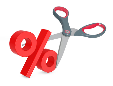 Cutting Percent Sign with Scissors on a white background. 3d Rendering. Stock Photo