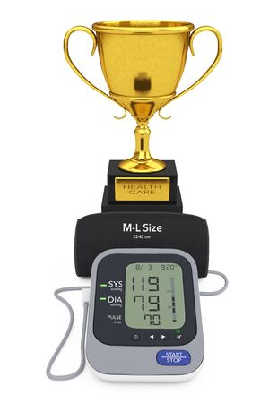 tonometer: Digital Blood Pressure Monitor with Cuff and Golden Trophy on a white background. 3d Rendering.