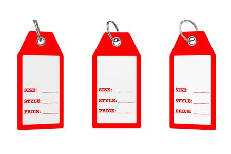 Dress Tags with Size, Style and Price Sign with Blank Space for Your Text on a white background. 3d Rendering. Imagens