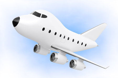jetliner: Cartoon Toy Jet Airplane on a blue background. 3d Rendering.