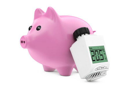 safe water: Digital Wireless Radiator Thermostatic Valve near Piggy Bank on a white background. 3d Rendering.