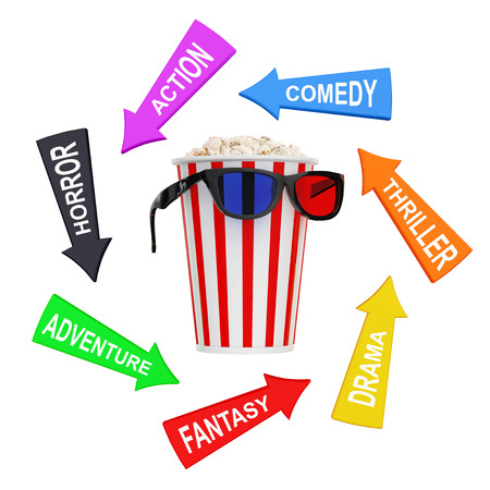 Arrows with Cinema Styles around Bucket Full of Popcorn with 3D Glasses on a white background. 3d Rendering.