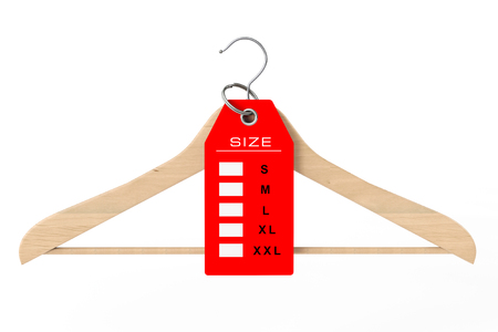 Wooden Clothes Hanger and Dress Tag with Size Sign on a white background. 3d Rendering. Stock Photo