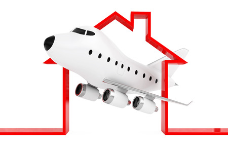Cartoon Toy Jet Airplane in Abstract Airport or Hangar Building Shape on a white background. 3d Rendering. Stock Photo