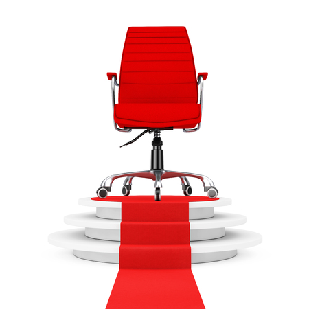 exclusive: Red Leather Boss Office Chair over Round White Pedestal with Steps and a Red Carpet on a white backgroundl. 3d Rendering. Stock Photo