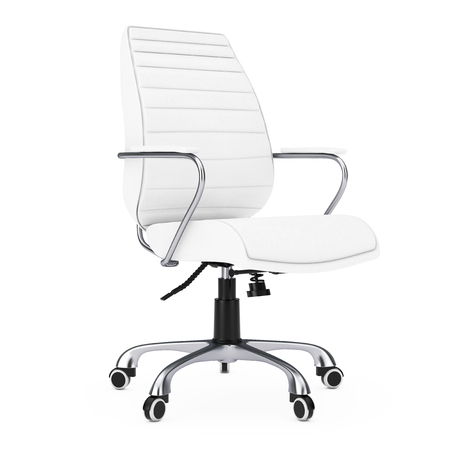 exclusive: White Leather Boss Office Chair on a white background. 3d Rendering. Stock Photo