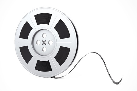 Film Reel with Cinema Tape on a white background. 3d Rendering.