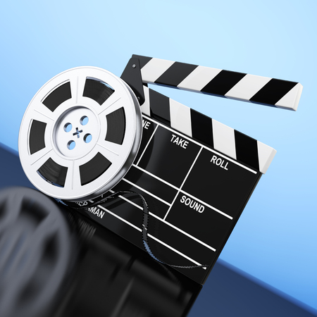 Film Reel with Cinema Tape near Clapboard on a blue background. 3d Rendering.