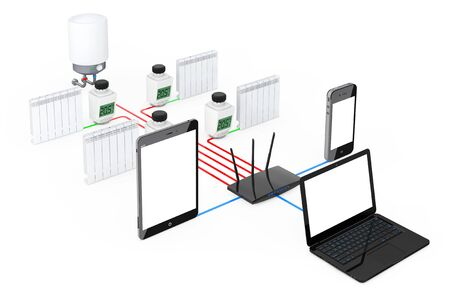 Home Climate Control System Wireless Controlled by Laptop, Tablet PC and Mobile Phone on a white background. 3d Rendering. Stock Photo
